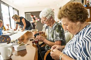 Seniors sewing